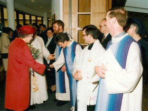 Members of the Ministerial Team of Christ the Cornerstone being presented to Her Majesty the Queen after the Dedication Service on 13 March 1992